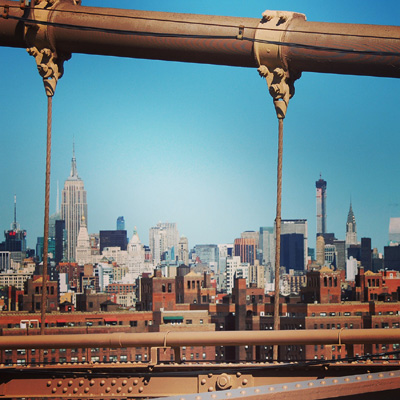 experience new york-vue du Brooklyn bridge en direction de Midtown Manhattan