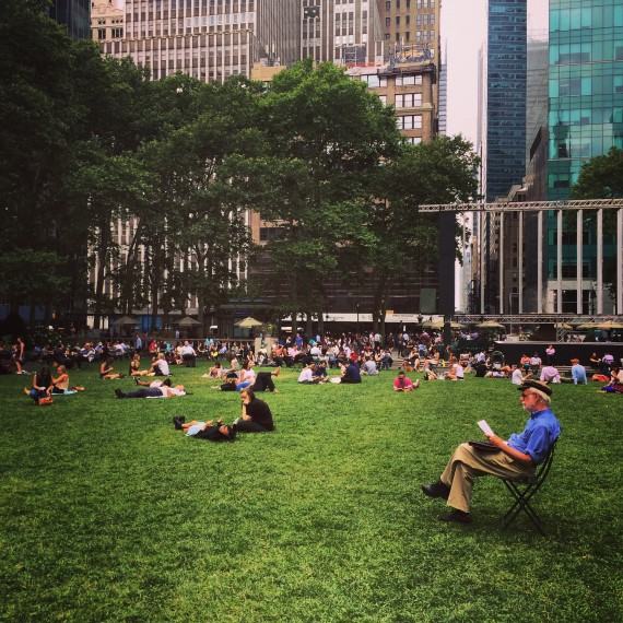 bryant park, people chilling
